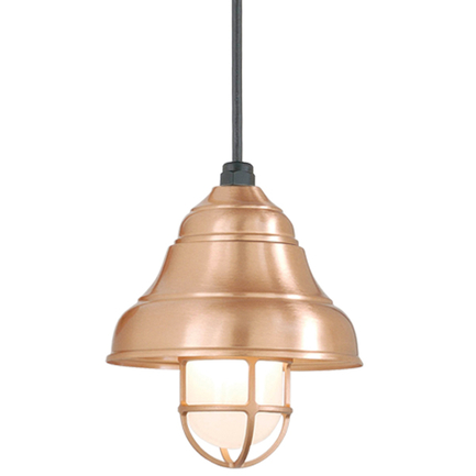 """9"""" shade in 24 satin copper, 8 foot black cord with 91 black canopy, CGU accessory w/ frost glass in"""