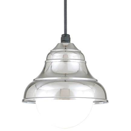 """9"""" shade in 98 polished aluminum, 8 foot black cord with 91 black canopy, 6OP accessory"""