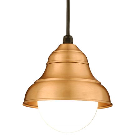 """9"""" shade in 44 polished copper, 8 foot black cord with 91 black canopy, 6OP accessory"""