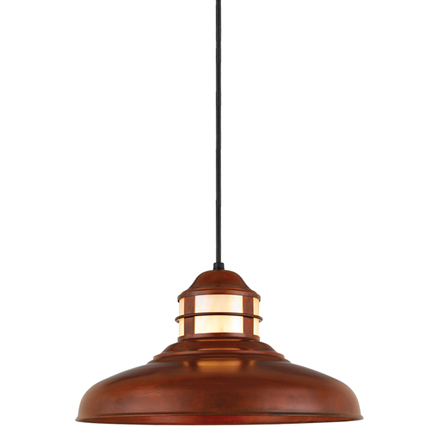 """17"""" shade with honey irri lens in 77 rosewood finish, 8 foot black cord with 91 black canopy"""