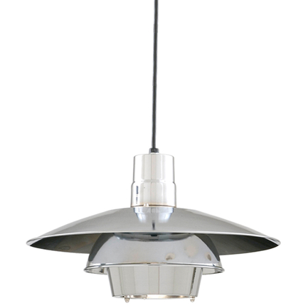 """18"""" shade in 55 chrome with 8 foot black cord and 91 black canopy"""