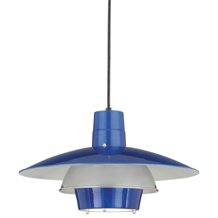 """18"""" shade in 123 trans blue, 55 chrome ring with 8 foot black cord and 91 black canopy"""