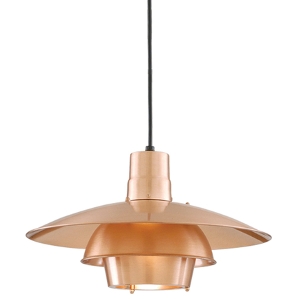 """18"""" shade in 24 satin copper with 8 foot black cord and 91 black canopy"""