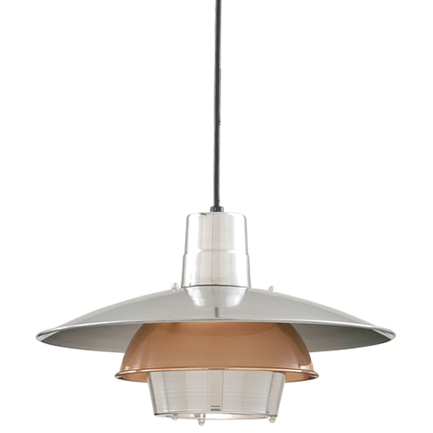 """18"""" shade in 98 polished aluminum & 44 polished copper ring, 8 foot black cord 91 black canopy"""