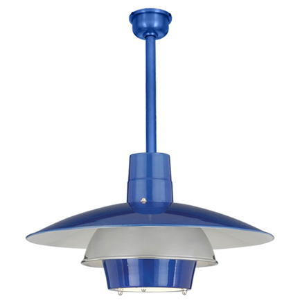 """18"""" shade with ST3 in 123 trans blue, 55 chrome ring"""