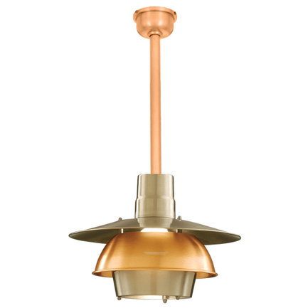 """16"""" shade in 11 satin steel, ST3 and center ring in 24 satin copper"""