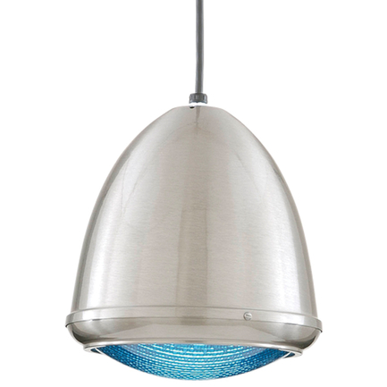 """9.75"""" fixture in 11 satin steel, blue lens, 8 foot black cord and 91 black canopy"""