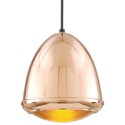 """9.75"""" fixture in 44 polished copper, amber lens, 8 foot black cord and 91 black canopy"""