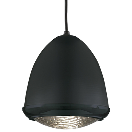 """9.75"""" fixture in 91 black, ribbed lens, 8 foot black cord and 91 black canopy"""