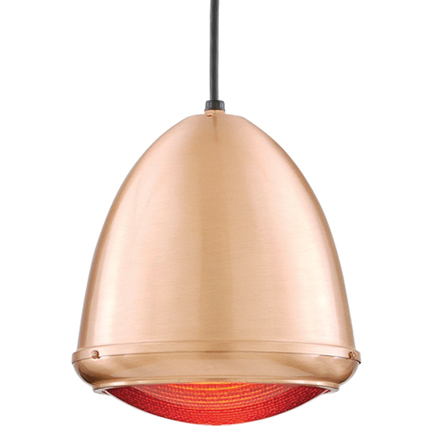 """9.75"""" fixture in 24 satin copper, red lens, 8 foot black cord and 91 black canopy"""