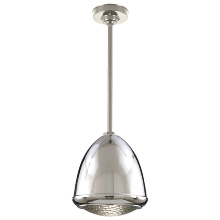 """9.75"""" fixture in 55 chrome with ST2 and HSC in 117 painted steel, ribbed lens"""