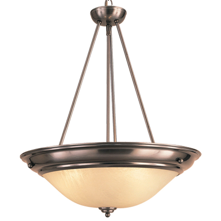"""21"""" fixture with cloud lens and chain 11 satin steel finish"""
