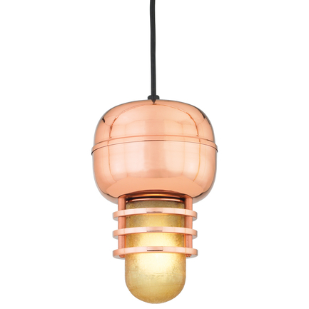 """7"""" fixture in 44 Polished Copper finish and amber crackle glass with CB8 mounting"""