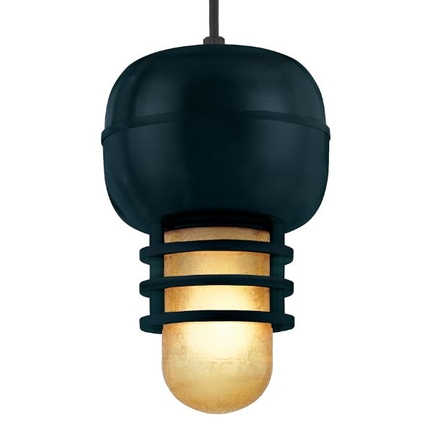 """7"""" fixture in 91 Black finish with amber crackle glass and CB8 mounting"""