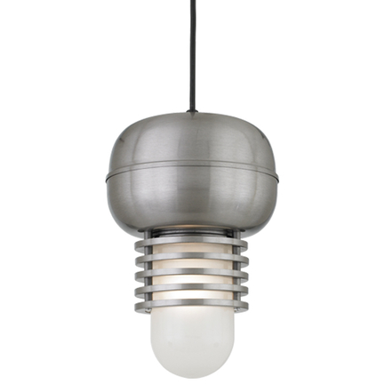 """9"""" shade in 11 Satin Steel finish with frost glass and CB8 mounting"""