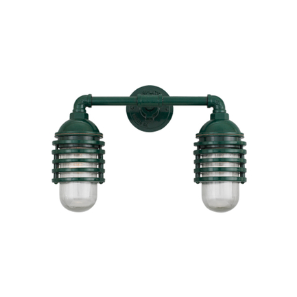 Small fixture with clear ribbed glass in 95 dark green