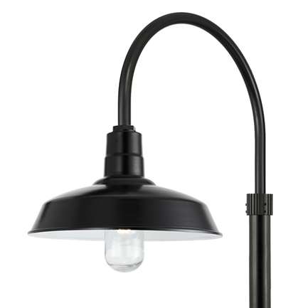 """16"""" RLM shade wtih P-1 post arm and 3"""" diameter smooth pole in 91 Black finish"""