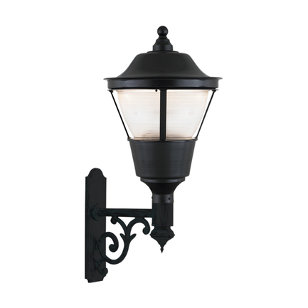 """18"""" fixture, B-27 arm in 91 black finish, polycarbonate globe, T-5 refractor"""