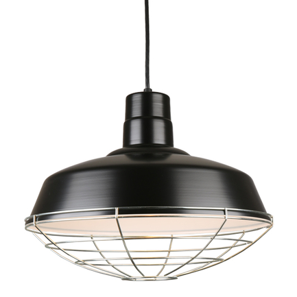 """18"""" Quick ship classic warehouse shade in 91 black finich, cb8 91 cord mounting and 96 galvanized wi"""