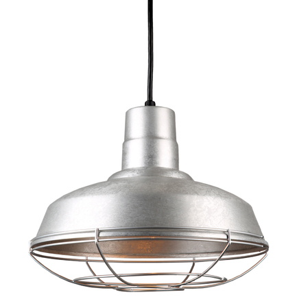 """14"""" quick ship classis warehouse shade in 96 galvanized finish and 8ft black cord and galvanized wir"""