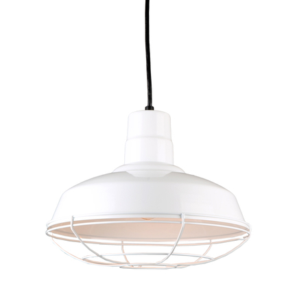 """14""""quick ship classic warehouse shade in 93 white finish and 93 white wire guard"""