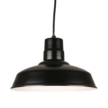 """16"""" quick ship classic warehouse shade in 91 black finish with 91 black wire guard"""