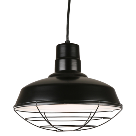 """14"""" quick ship classic warehouse shade in 91 black finish with 91 black wire guard"""