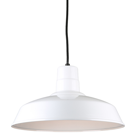 """16"""" quick ship classic warehouse shade in 93 white finish and 8ft black cord"""