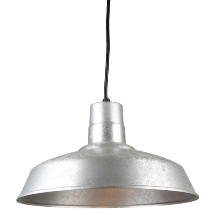 """16"""" quick ship classic warehouse shade in  96 galvanized finish and 8ft cord"""