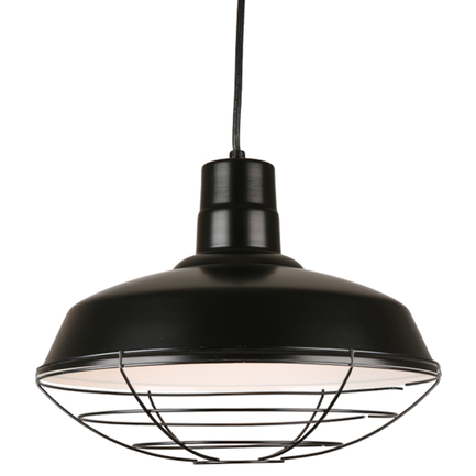 """16"""" quick ship classic warehouse shade in 91 black finish and 91 black wire guard"""