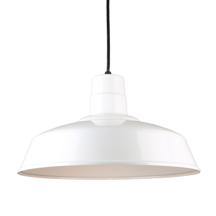 """18"""" quick ship classic warehouse shade in 93 white finish and 8ft black cord"""
