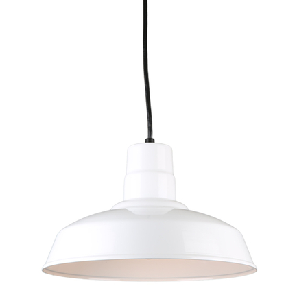 """14""""quick ship classic warehouse shade in 93 white finish and 8ft black cord"""
