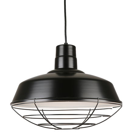 """16"""" quick ship classic warehouse shade in 91 black finish with 91 blaclk wire guard"""