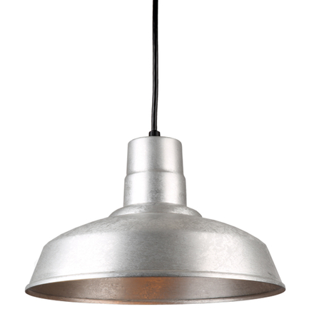 """14"""" quick ship classic warehouse shade in 96 galvanized finish with 8ft black cord"""