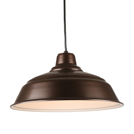 """17"""" quick ship curved warehouse shade in 145 oil rub bronze with 8ft black cord"""