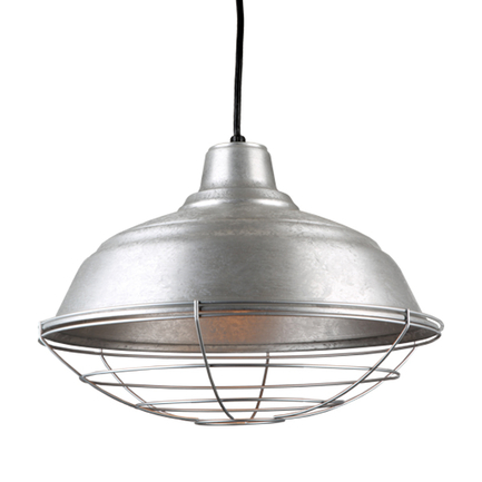 """17"""" quick ship curved warehouse shade in 96 galvanized finish and 96 galvanized finish wire guard"""