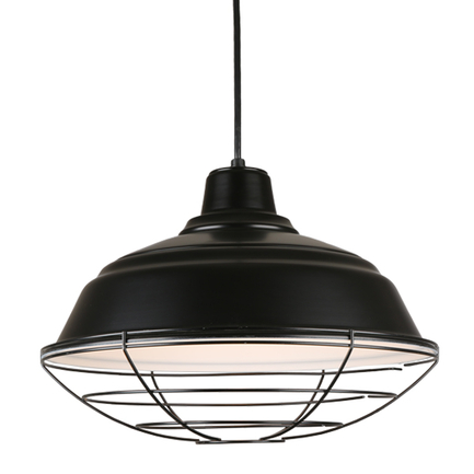 """17"""" quick ship curved warehouse shade in 91 black finish and 91 black wire guard"""