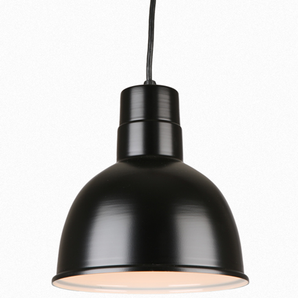 """10"""" quick ship classic deep bowl shade in 91 black finish and 8ft black cord"""