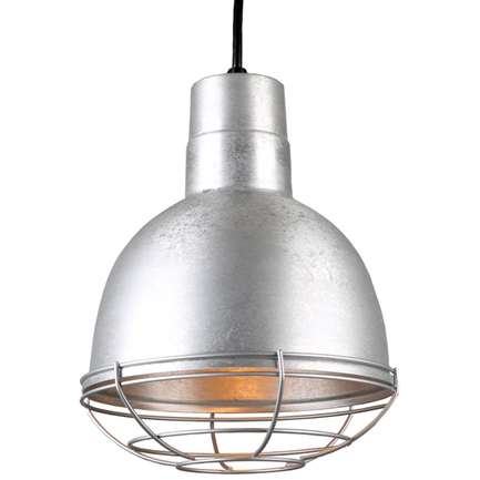 """10"""" quick ship classic deep bowl shade in 96 galvanized finish with 96 galvanized wire guard"""