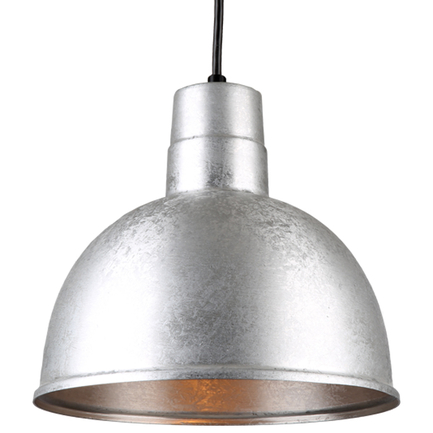 """12"""" quick ship classic deep bowl pendant in 96 galvanized finish with 8ft black cord"""