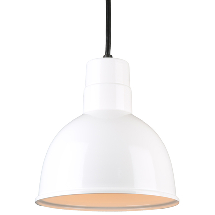 """10"""" quick ship classic deep bowl pendant in 93 white finish and 8 ft black cord"""