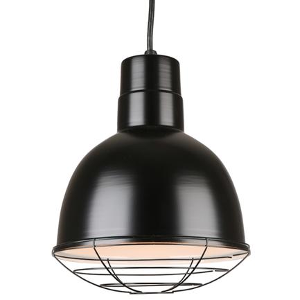 "10"" quick ship classic deep bowl pendant in 91 black finish and 91 black wire guard"