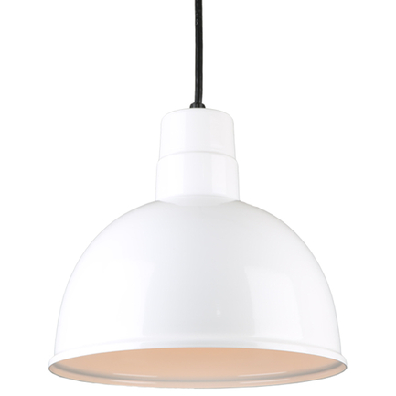 """12"""" quick ship classic deep bowl pendant in 93 white finish with 8ft cord"""