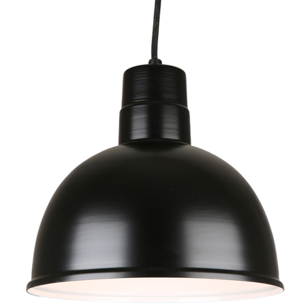 """12"""" quick ship classic deep bowl pendant in 91 black finish with 8ft cord"""