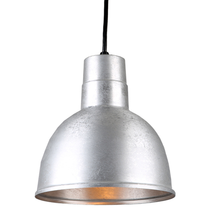 """10"""" quick ship classic deep bowl pendant in 96 galvanized finish with 8ft black cord"""