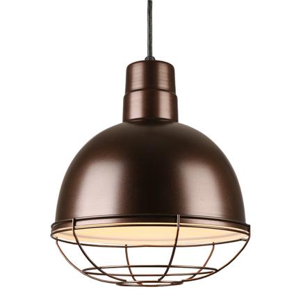 "12"" quick ship classic deep bowl pendant in 145 oil rub bronze finish and 145 oil rub wire gaurd"