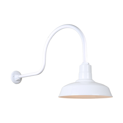 """14"""" Quick Ship Classic warehouse shade in 93 white finish and QSNHL-C arm"""