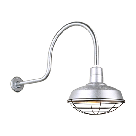 """14"""" quick Ship classic warehouse shade in 96 galvanized finish and QSNHL-C arm with 91 black wire gu"""