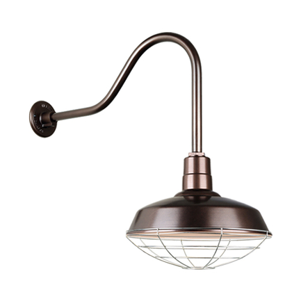 """16"""" Quick Ship Classic warehouse shade in 145 oil rub bronze finish and QSNHL-H arm with 96 galvaniz"""