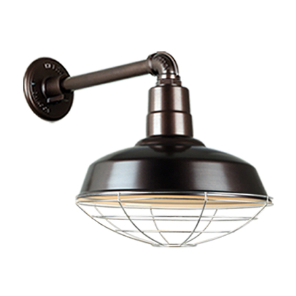 """14"""" Quick Ship Classic warehouse shade in 145 oil rub  finish and QSNB-44 arm with 96 galvanized wir"""